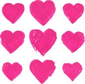 Pink acrylic color painted hearts set — Vecteur