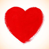 Red acrylic color textured painted heart — Wektor stockowy