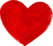 Red acrylic color textured painted heart — Vector de stock