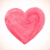 Pink acrylic color textured painted heart — Stok Vektör