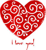 Red painted heart with white ornament — Vettoriale Stock