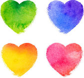 Colorful watercolor painted hearts vector set — Stock Vector