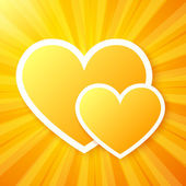 Yellow paper hearts on shining vector background — Vecteur