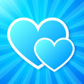 Blue paper hearts on shining vector background — Stock Vector