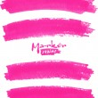Bright pink vector marker stains set — Stock Vector