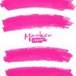 Bright pink vector marker stains set — 图库矢量图片