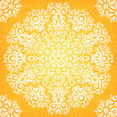 Ornate vintage yellow lacy seamless pattern — Stockvektor