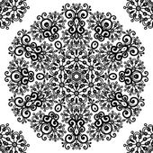 Ornate vintage black lacy seamless pattern — ストックベクタ