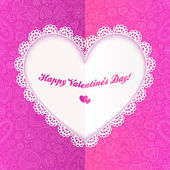 Cutout lacy paper heart on pink ornate background — Vetorial Stock