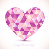 Pink diamond triangles texture realistic heart — Stock Vector