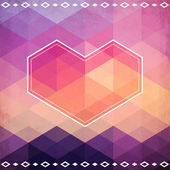 Abstract geometric pattern with pink heart — Stockvektor