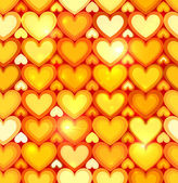Orange shining hearts vector seamless pattern — Stock Vector
