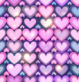 светло розовые сердца, сияющий бесшовный фон — Cтоковый вектор