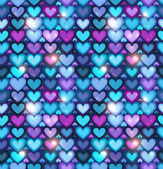 Dark blue hearts vector seamless pattern — Stock vektor
