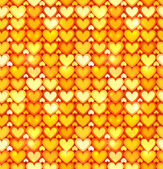 Orange shining hearts vector seamless pattern — Wektor stockowy