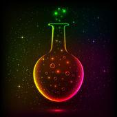 Shining rainbow bottle with magic lights — Stock Vector