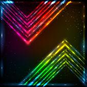 Shining neon arrows abstract vector background — Stock Vector