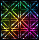 Shining neon lights rainbow squares background — Stock Vector