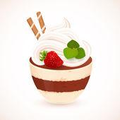 Tiramisu creamy dessert in cup — Vecteur