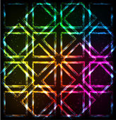 Shining neon lights rainbow squares background — Stock Vector