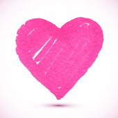 Bright pink marker textured vector heart — Vector de stock
