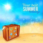 Bagagem com adesivos na ensolarada praia de viagem — Vetor de Stock