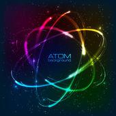 Vector shining neon lights atom model — Stock Vector