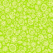Green Easter doodles vector seamless pattern — Stock vektor
