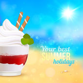 Sweet creamy desert on seascape background — Stock Vector