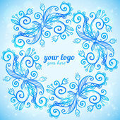 Blue ornate doodle vector frame — Stock Vector