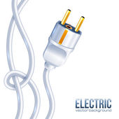 White electric plug and cables — Stock Vector