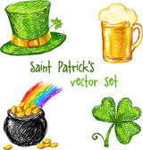 Sketch Saint Patrick day set, vector illustration — Stock Vector