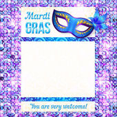 Mardi gras carnival vector poster template — Stock Vector