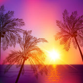 Purple tropical sunset with palms silhouettes — Stock Vector