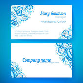 Blue floral decoration business cards templates — Stock Vector