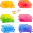 Rainbow watercolor stains set — Stock Vector