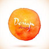 Orange watercolor circle, vector design element — Stock Vector
