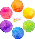 Rainbow watercolor vector circles — Stock Vector