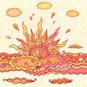 Doodle ornée illustration vectorielle soleil en hausse — Vecteur