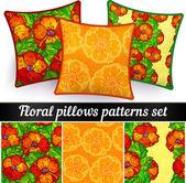 векторные цветочные подушки бесшовные шаблоны набора — Cтоковый вектор