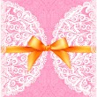 Pink lacy wedding card with orange silky bow — Stock Vector #49156767