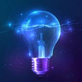 Azul brillante bombilla con luz interior — Vector de stock