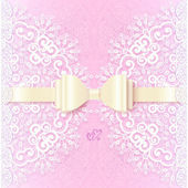 Vintage wedding card template with white bow — Stock Vector