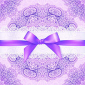 Violet lacy greeting card cover with purple ribbon — Stock Vector
