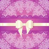 Rosa lacy bröllop adresskortsmallen med silkeslen rosett — Stockvektor
