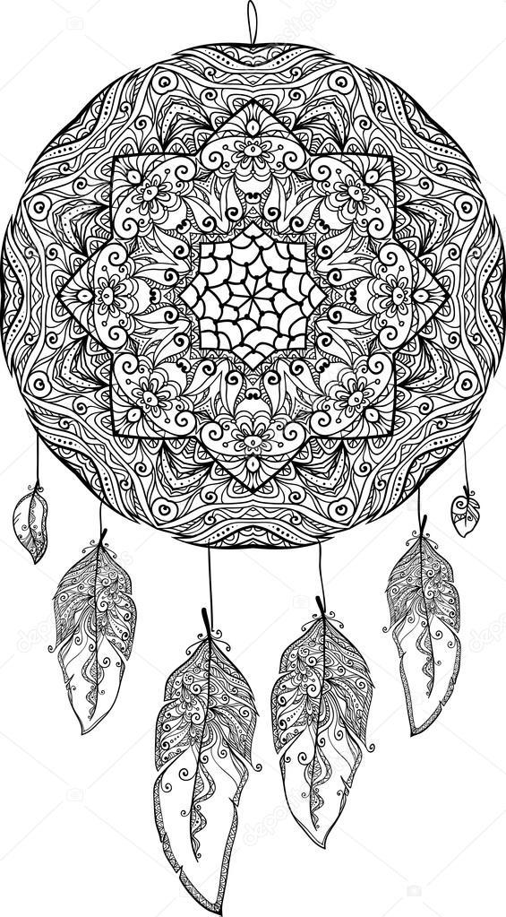 Bianco e nero doodle acchiappasogni vettoriali stock for Acchiappasogni disegno