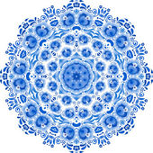 Blue vector floral ornament circle — Stock Vector