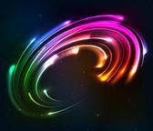 Rainbow colors shining neon lights twirl — Vector de stock
