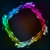 Rainbow colors shining neon lights frame — Vector de stock