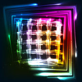 Rainbow colors shining neon lights grid — Vector de stock